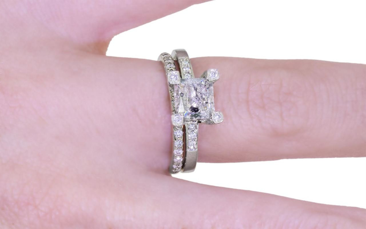 1.58 Carat Salt & Pepper Diamond Ring in White Gold