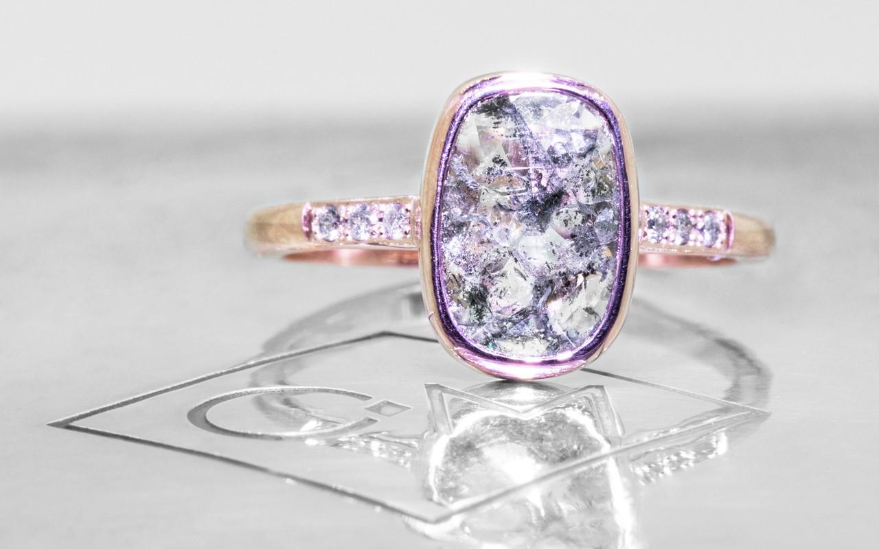 1.60 Carat Salt and Pepper Diamond Ring in Rose Gold