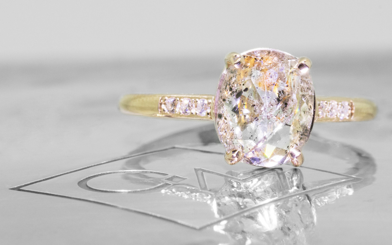 1.66 Carat Salt and Pepper Diamond Ring in Yellow Gold