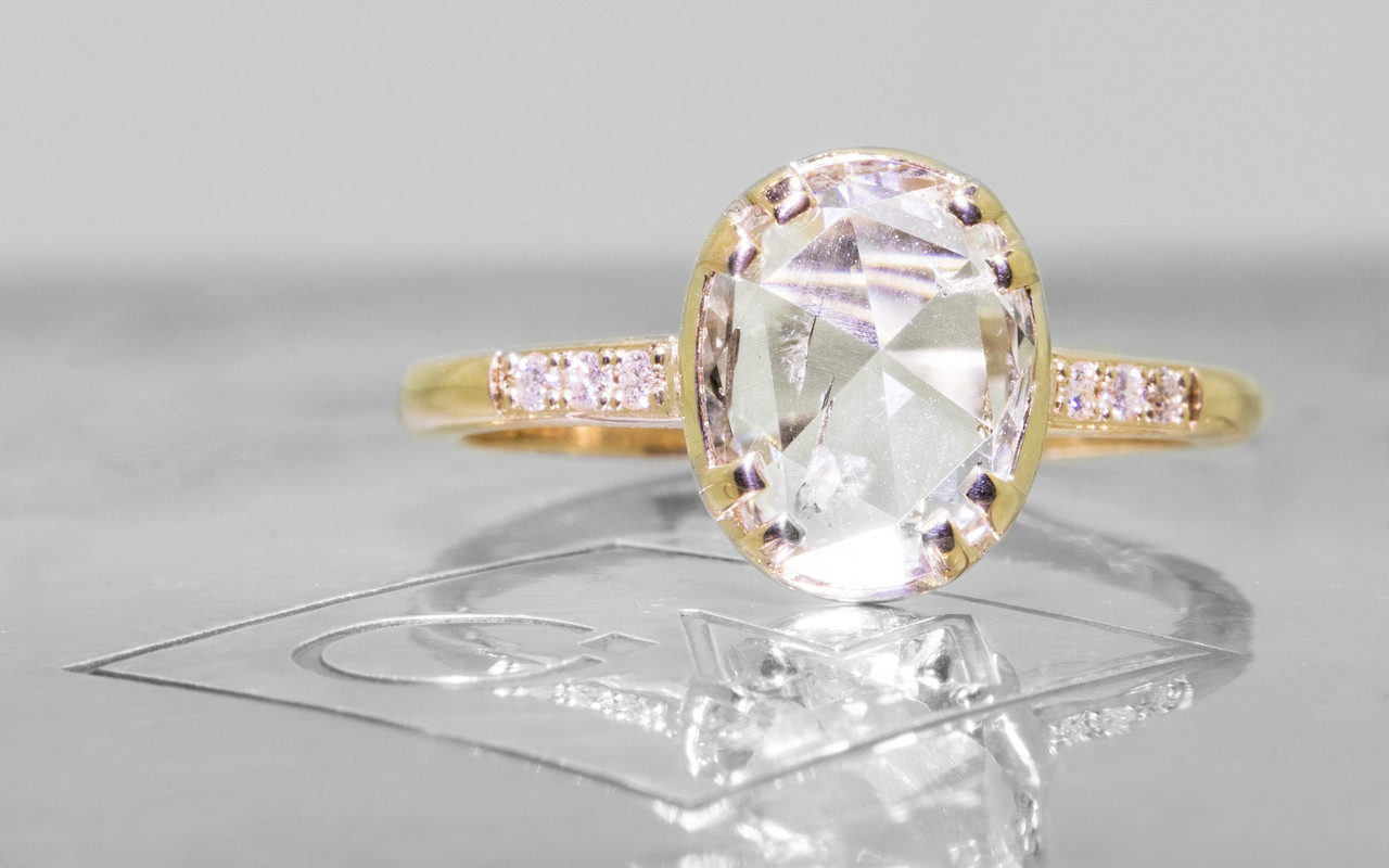 1.31 Carat Translucent White Diamond Ring in Yellow Gold