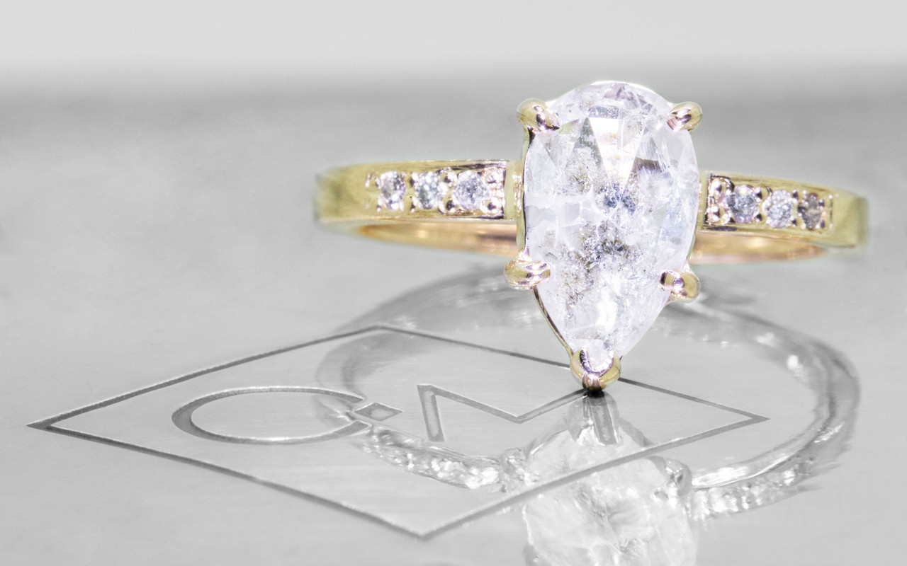 .94 Carat Salt and Pepper Diamond Ring in Yellow Gold