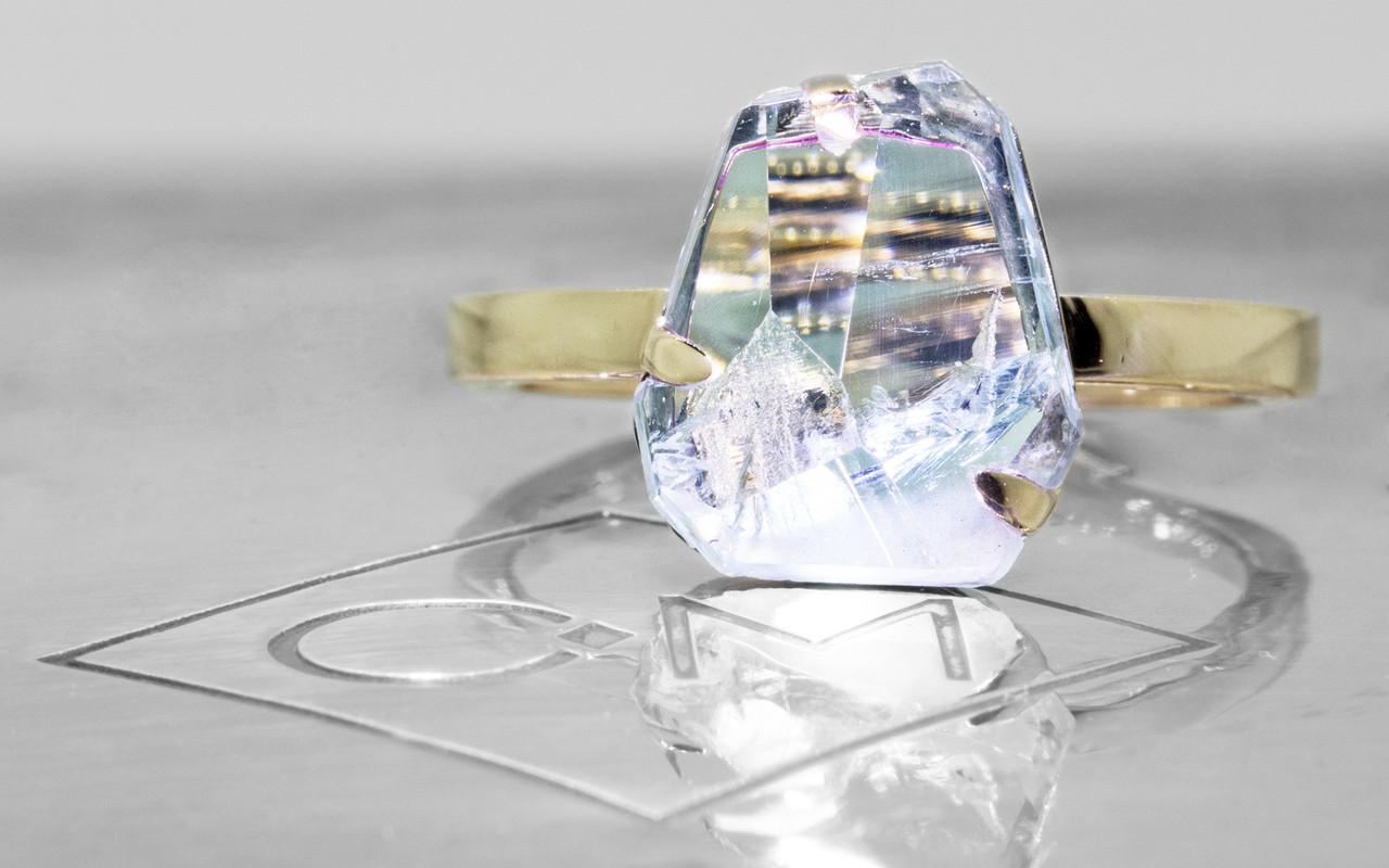 2.83 Carat Hand-Cut Aquamarine Ring in Yellow Gold