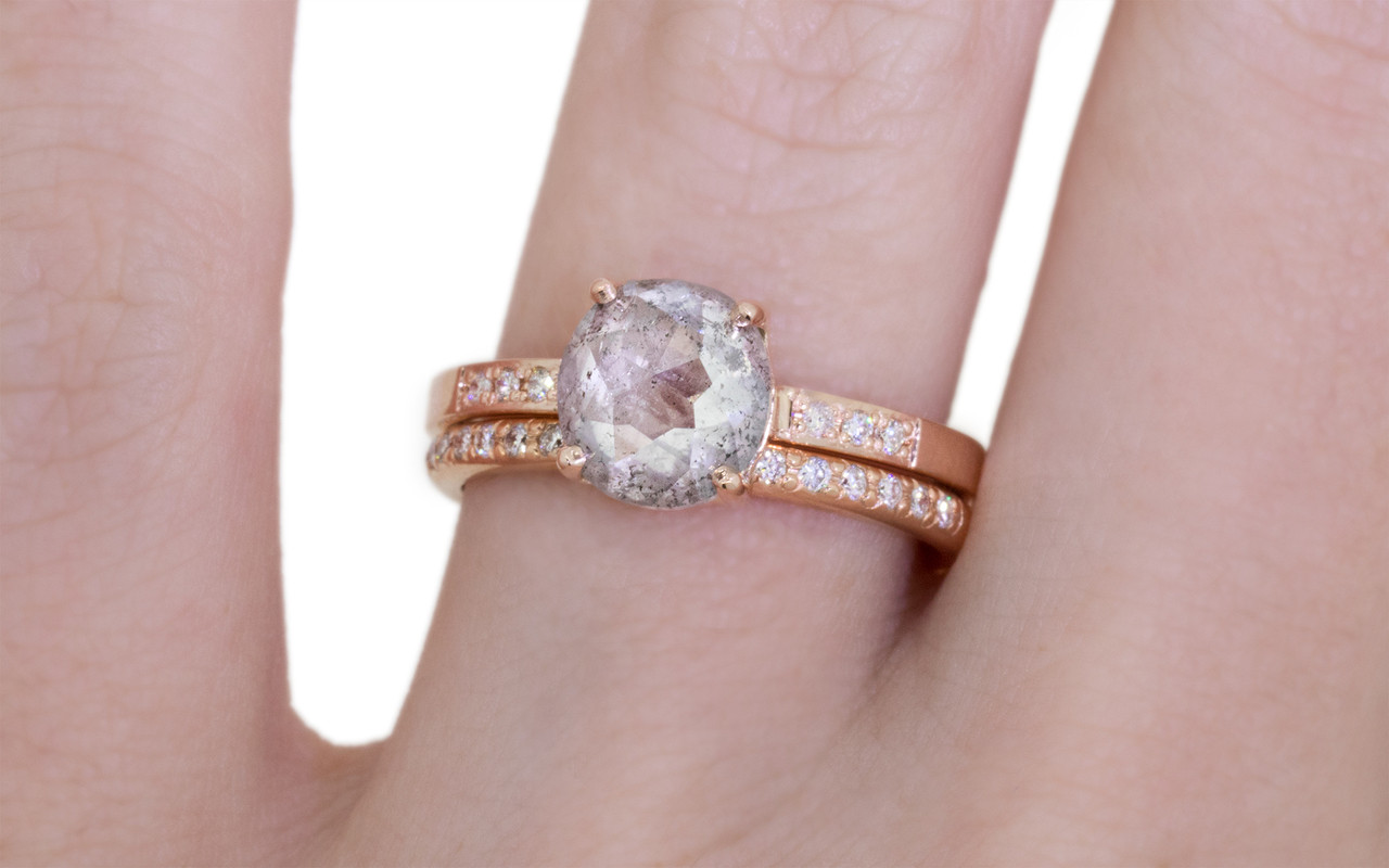 1.69 Carat Glowing Salt and Pepper Diamond Ring in Rose Gold