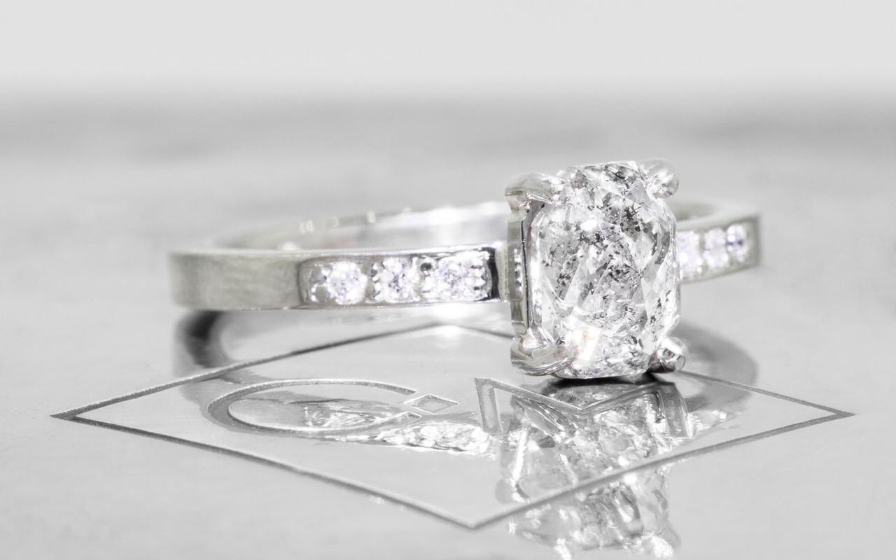 1.12 Carat Salt and Pepper Diamond Ring in White Gold
