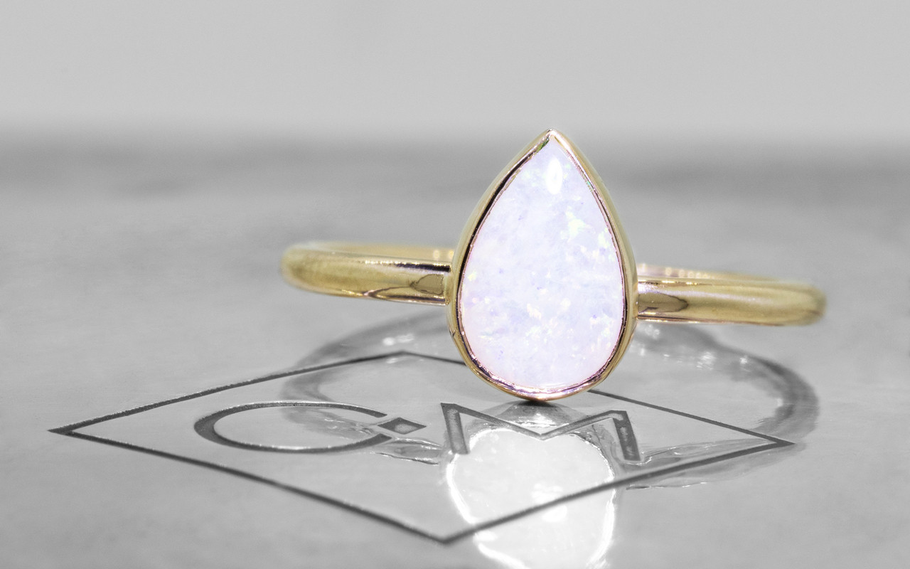 .65 Carat White Opal in Yellow Gold