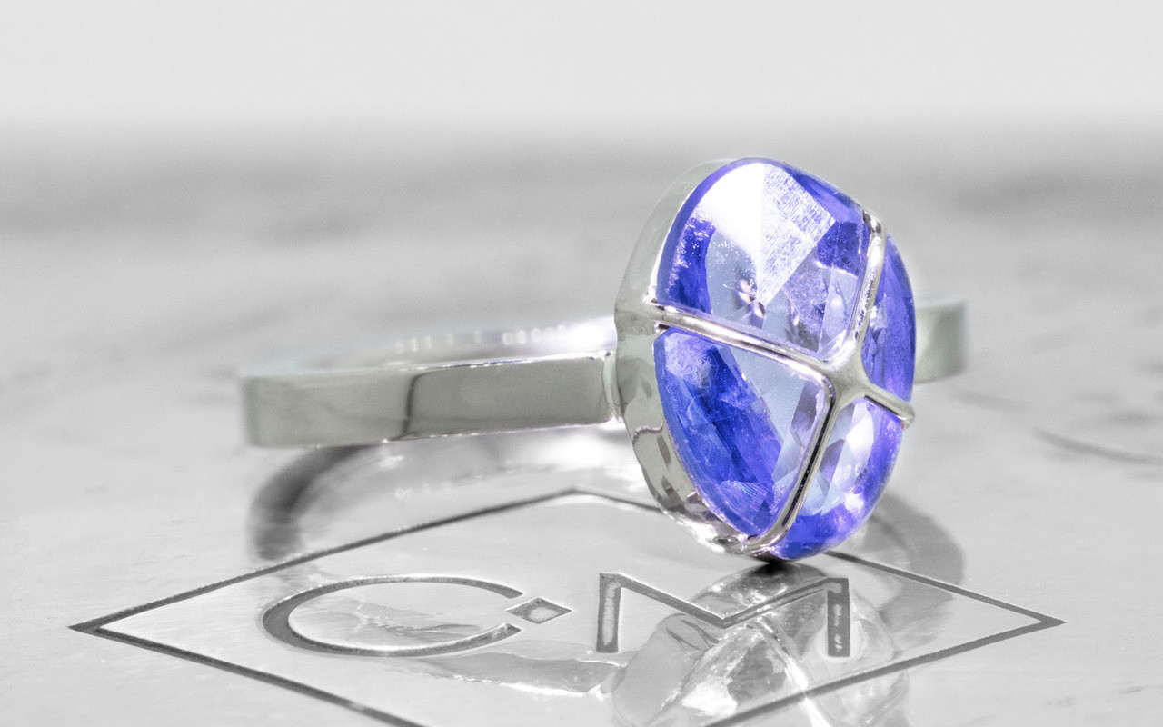 .97 Carat Hand-Cut Sapphire Ring in White Gold