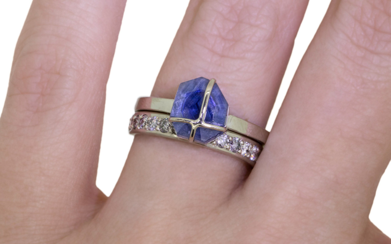 1.66 Carat Hand-Cut Sapphire Ring in White Gold