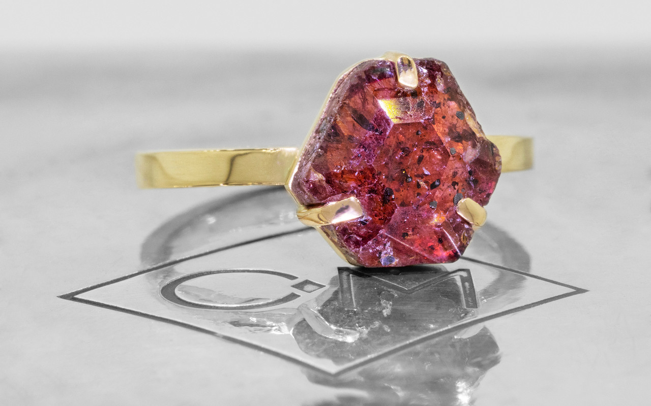 3.74 Carat Hand-Cut Ruby Ring in Yellow Gold