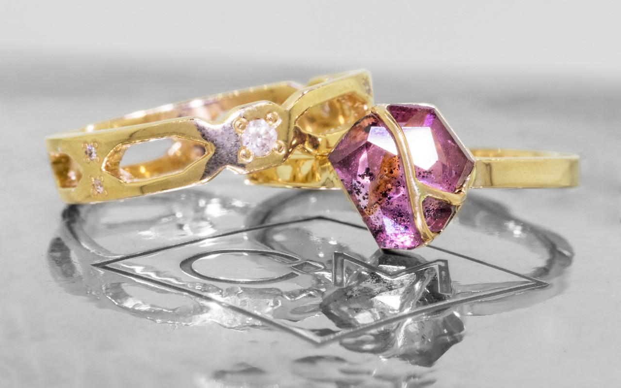 1.62 Carat Hand-Cut Ruby Ring in Yellow Gold