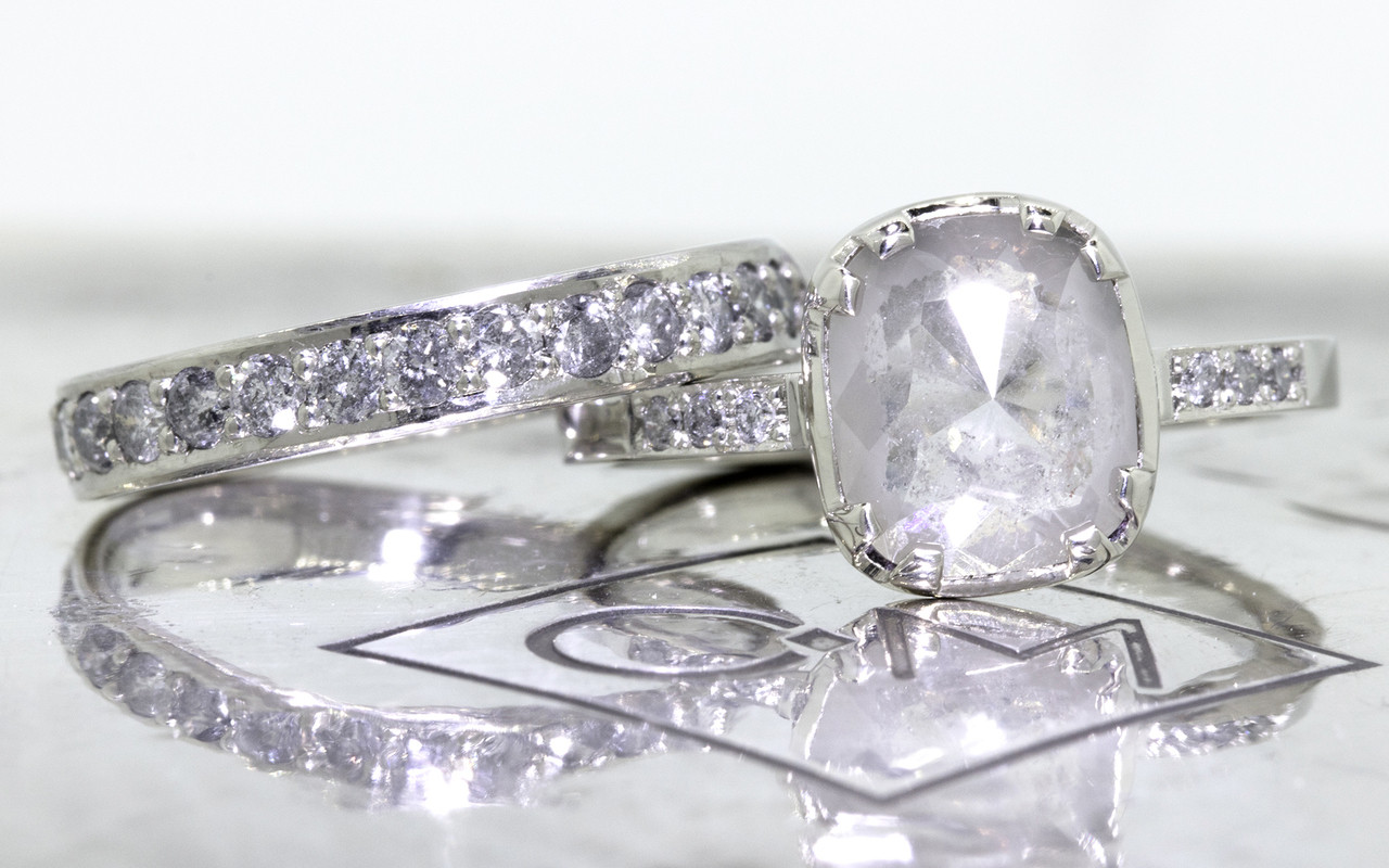 1.53 Carat Light Gray Diamond Ring in White Gold