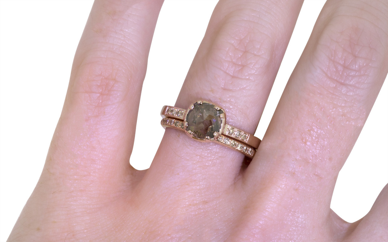 .84 Carat Smoky Champagne Diamond Ring in Rose Gold