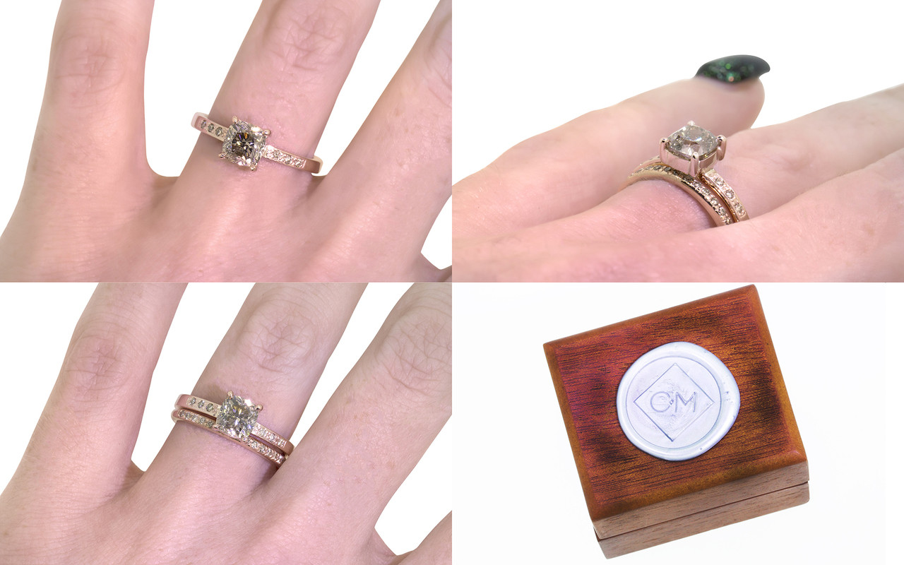 1.19 Carat Rich Champagne Diamond Ring in Rose Gold