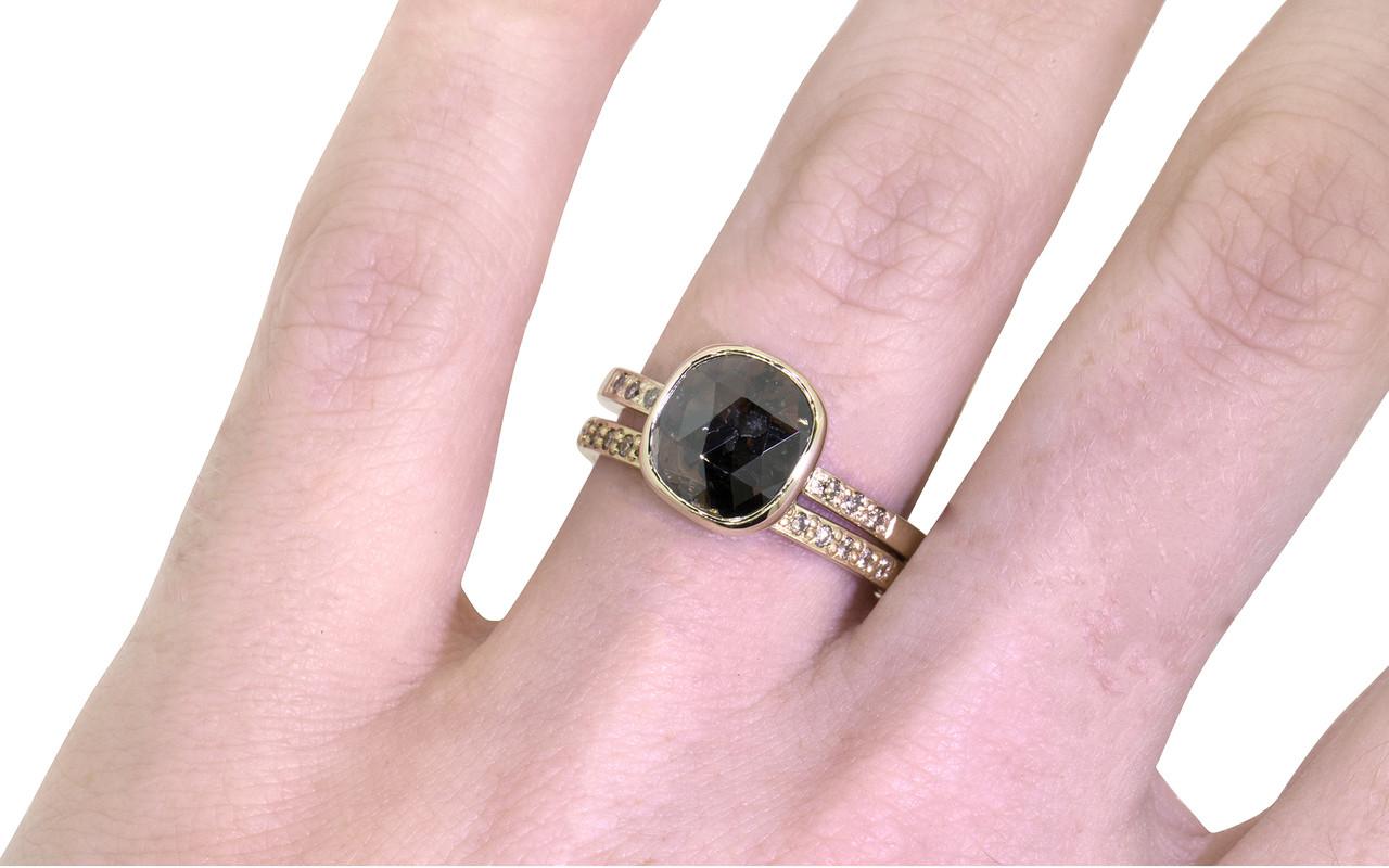 1.92 Carat Deep Cocoa Diamond Ring in Yellow Gold