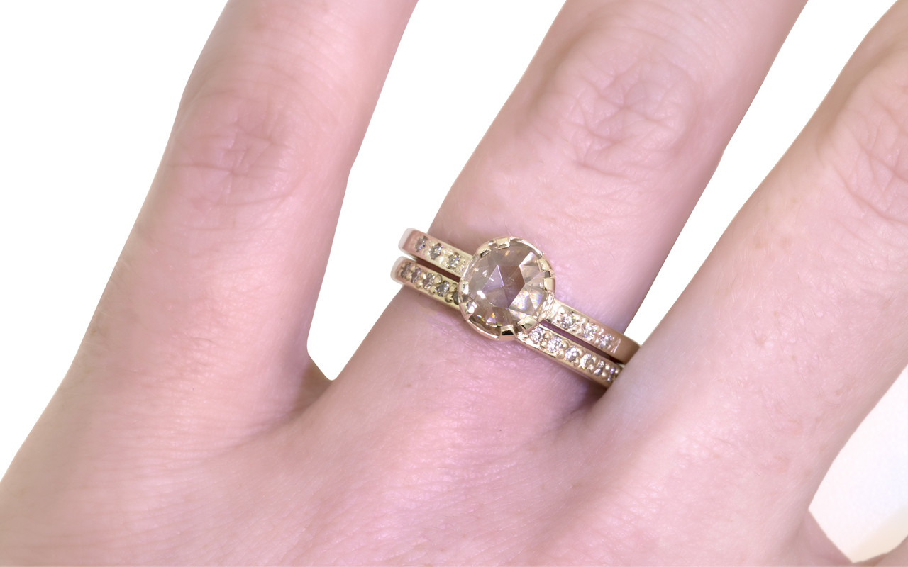 .81 Carat Champagne Diamond Ring in Yellow Gold