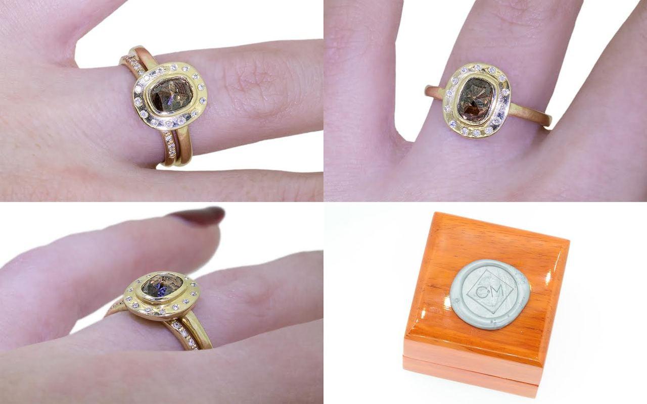 .98 Carat Cognac Diamond Ring in Yellow Gold with Diamond Halo
