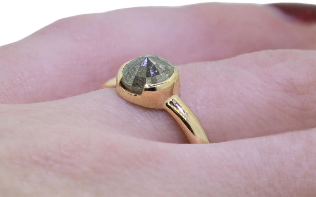 1.77 Carat Modern Gray Diamond Ring in Yellow Gold