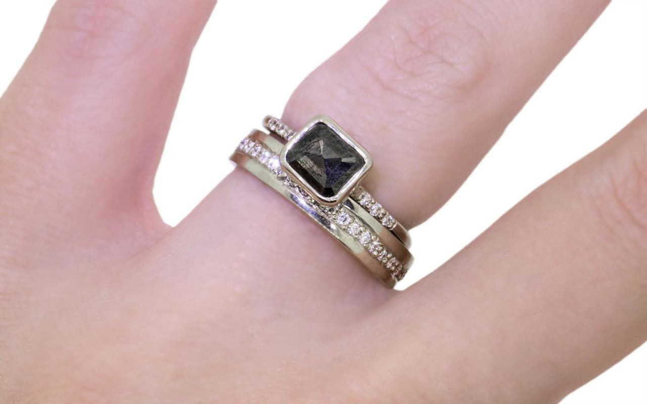 1.14 Carat Black Diamond Ring in White Gold