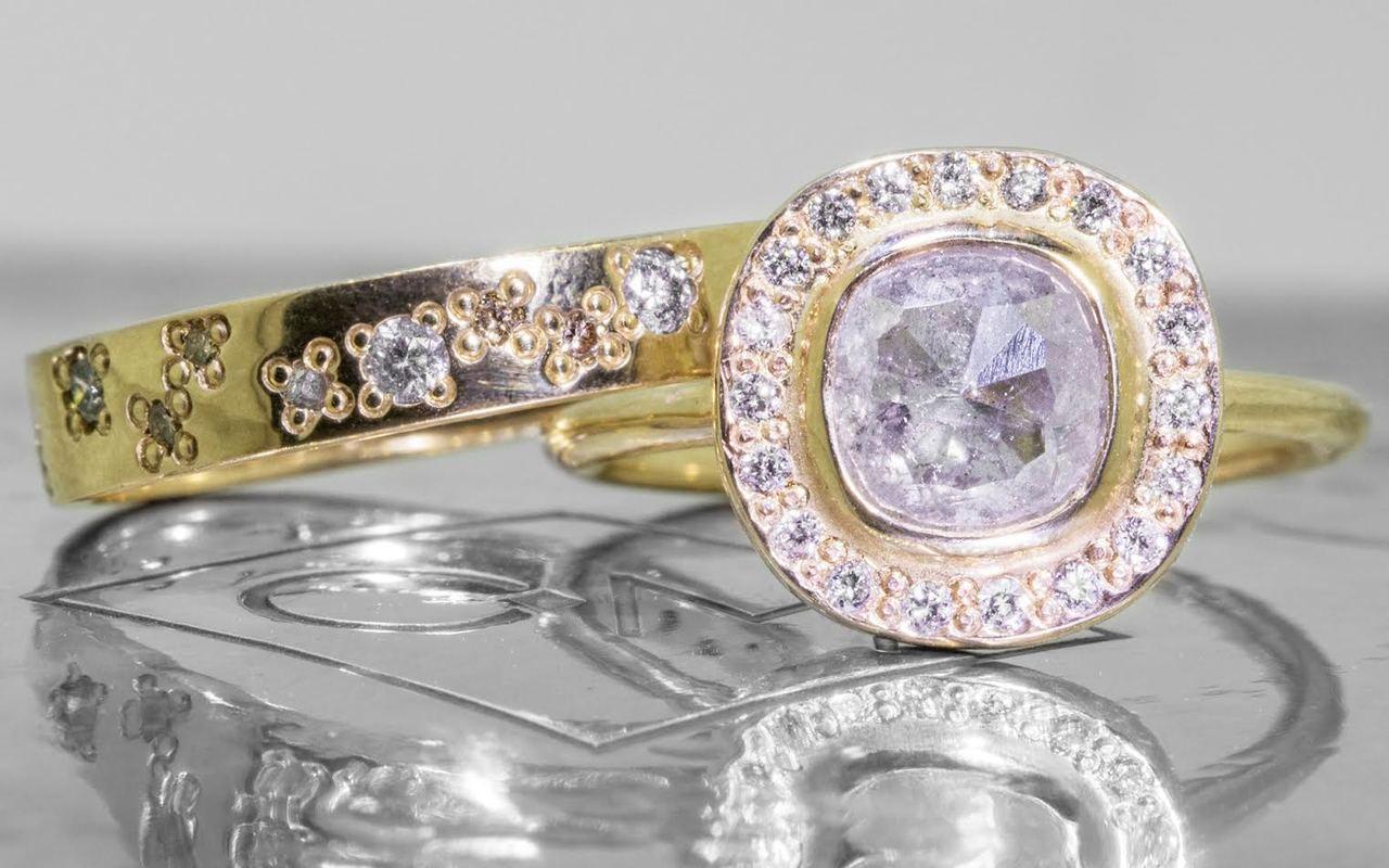 1.59 Carat Light Gray Diamond Ring with Diamond Halo