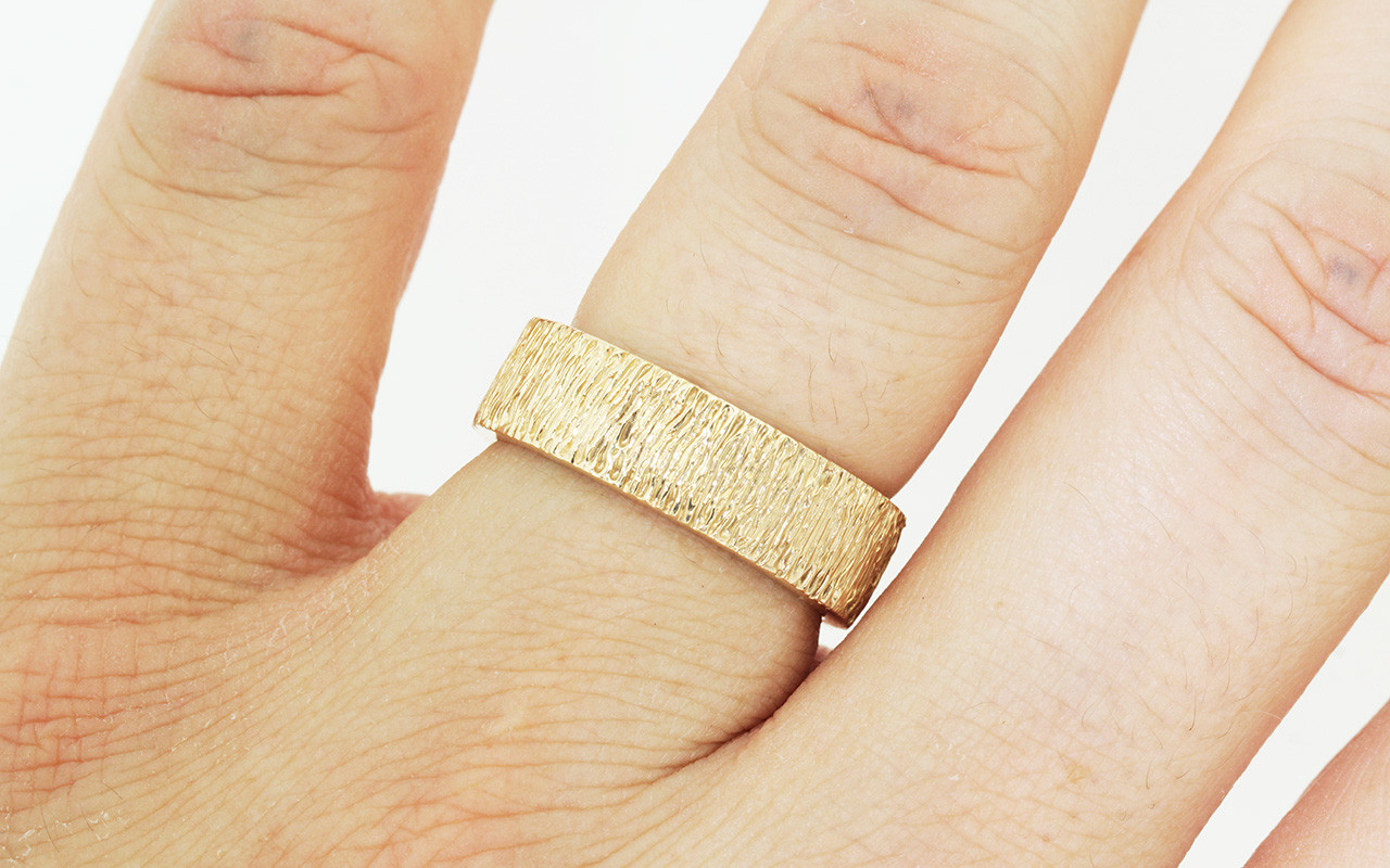 Mens Hand Carved Gold Textured Wedding Band CHINCHARMALONEY