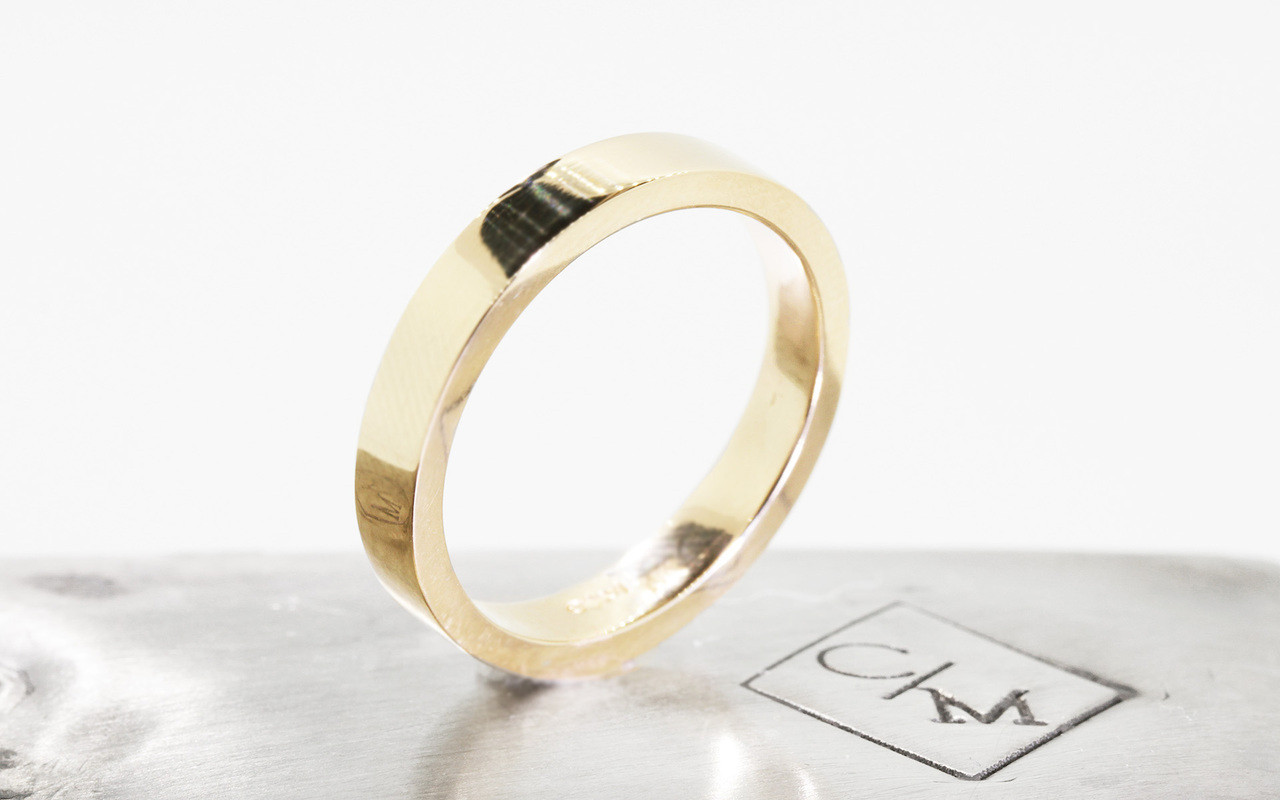 Men's Flat Gold Wedding Band - 4mm width
