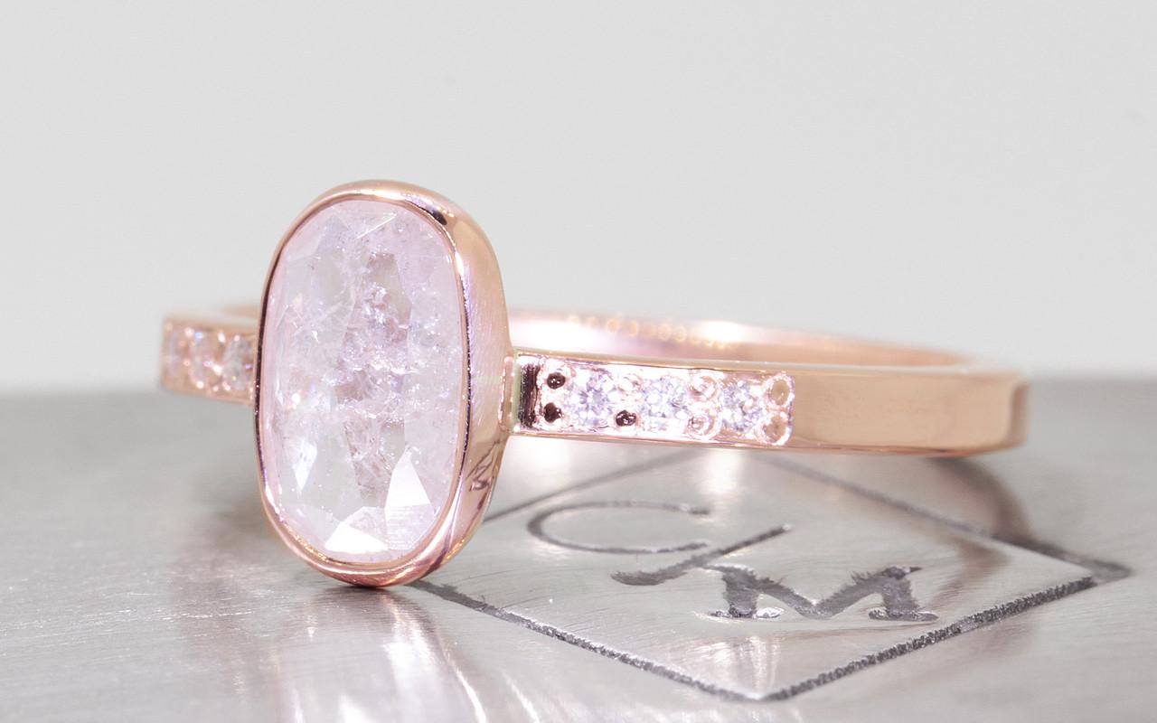 .95 Carat Natural White Diamond Ring in Rose Gold