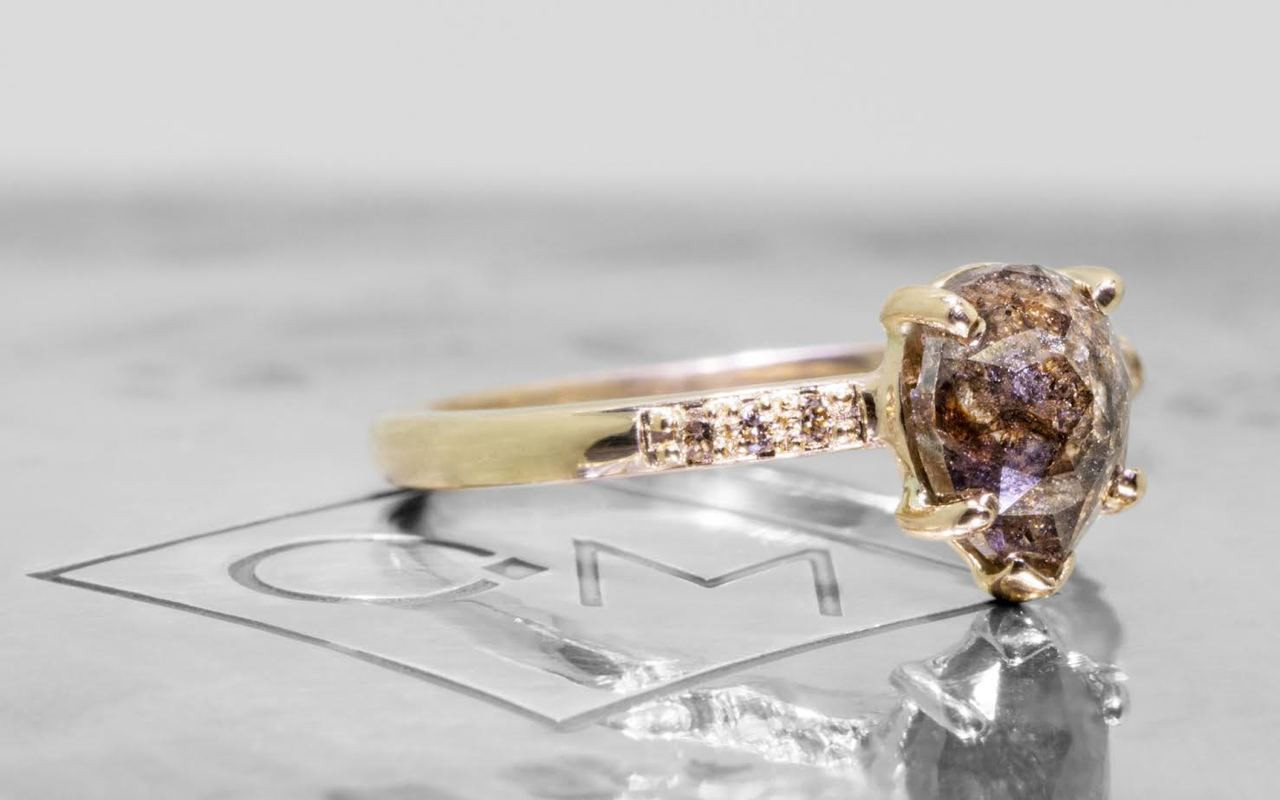 1.53 Carat Cocoa Diamond Ring in Yellow Gold