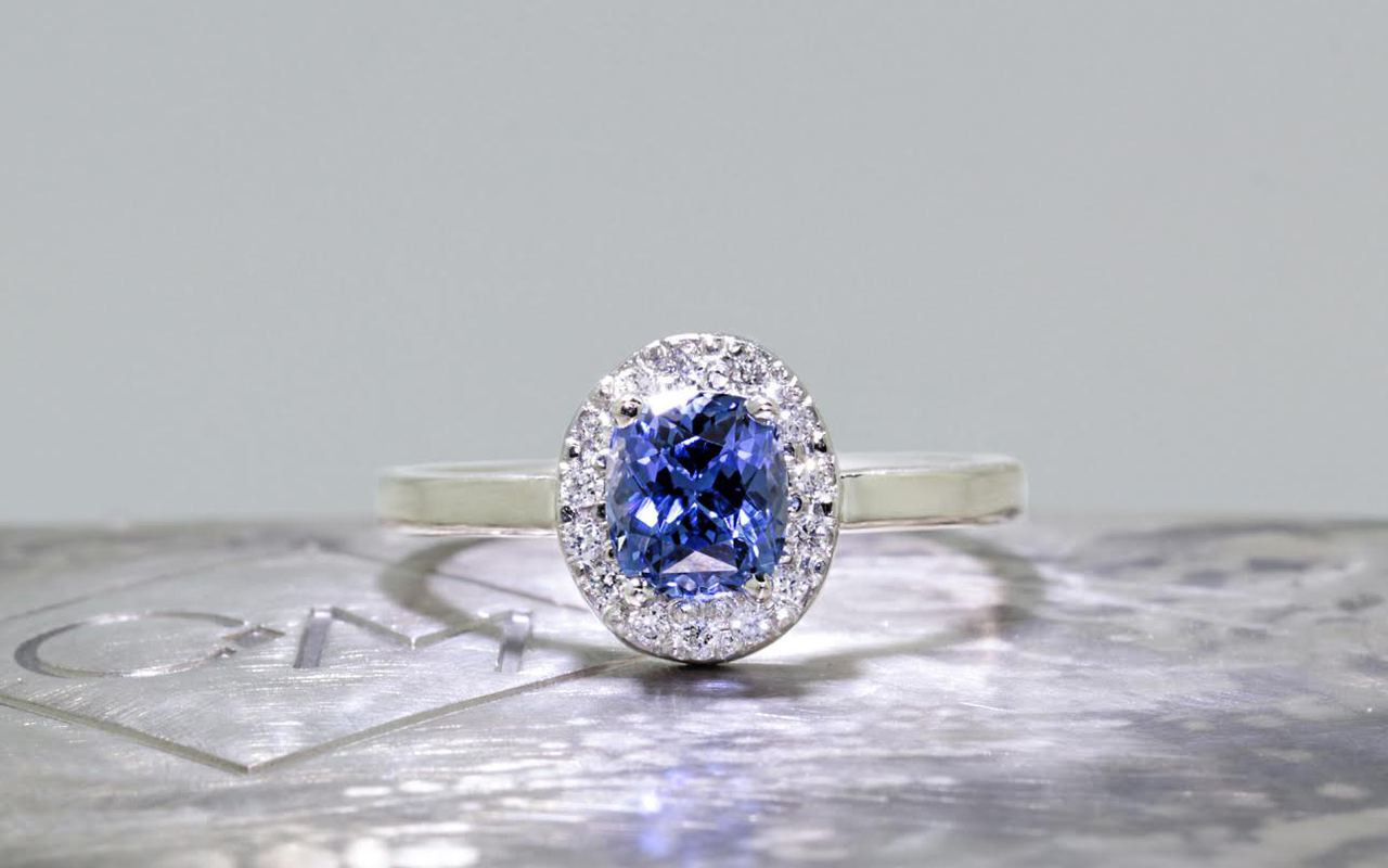 1.11 Carat GIA Ceylon Sapphire Ring with Diamond Halo