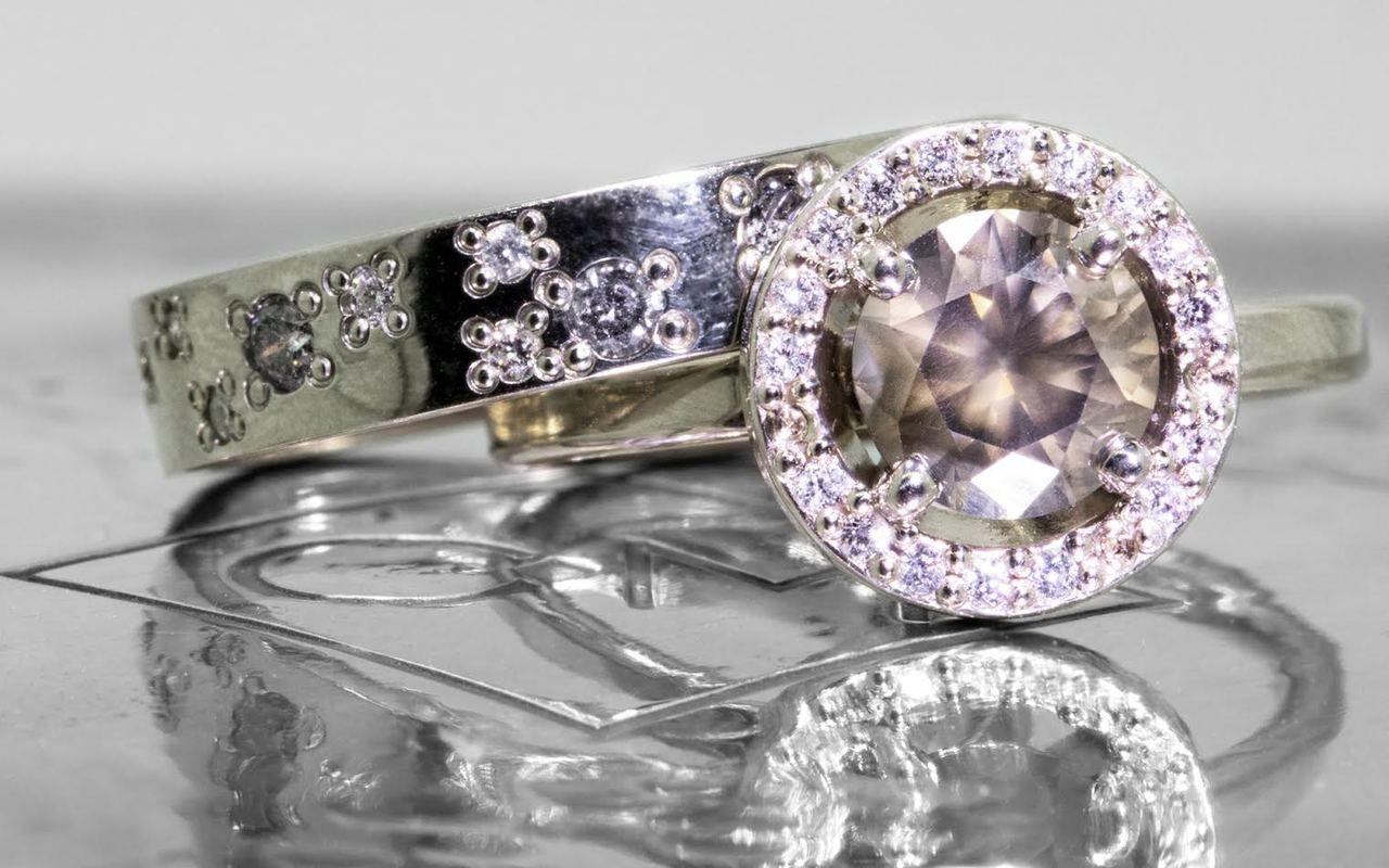 1.09 Carat Smoky Champagne Diamond Ring with Diamond Halo