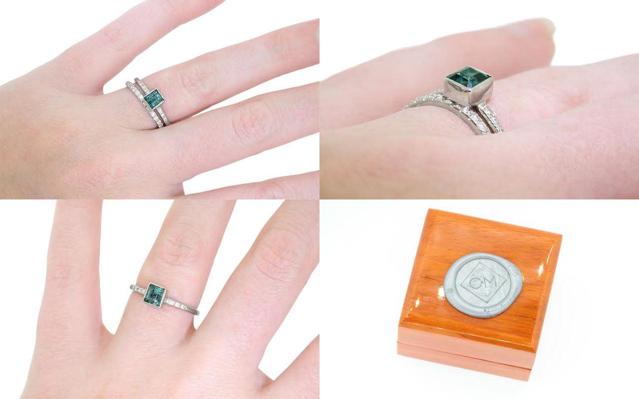 .85 Carat Indicolite Tourmaline Ring in White Gold