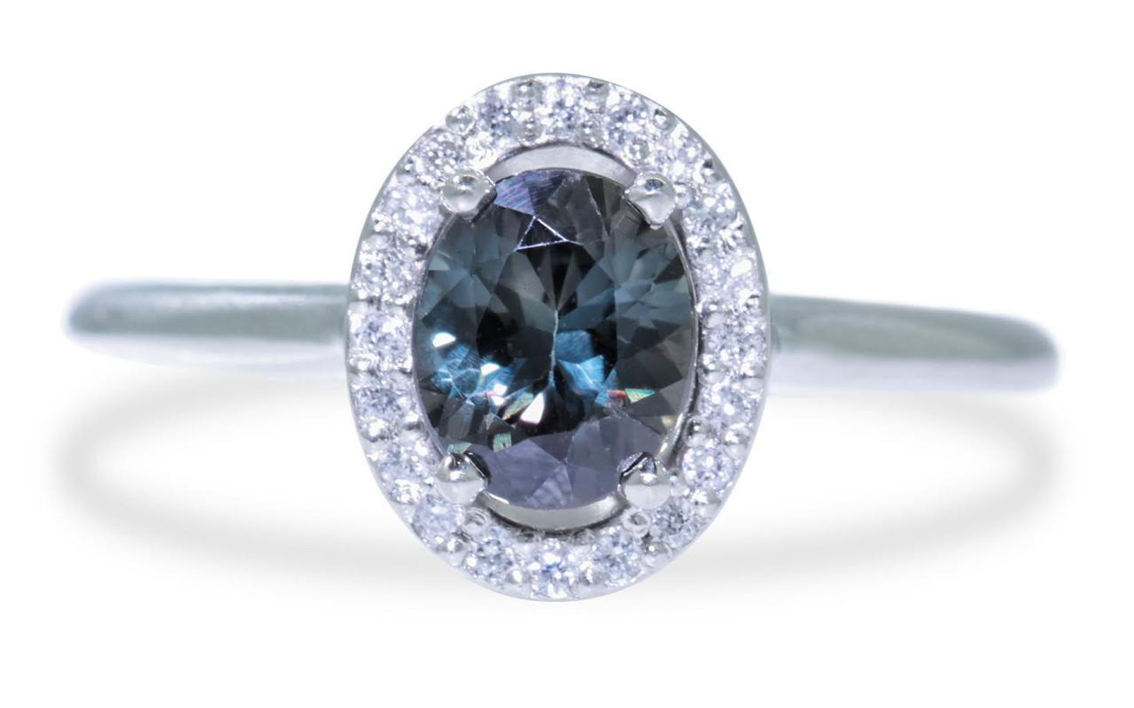 .90 Carat Multi-Color Sapphire Ring with White Diamond Halo