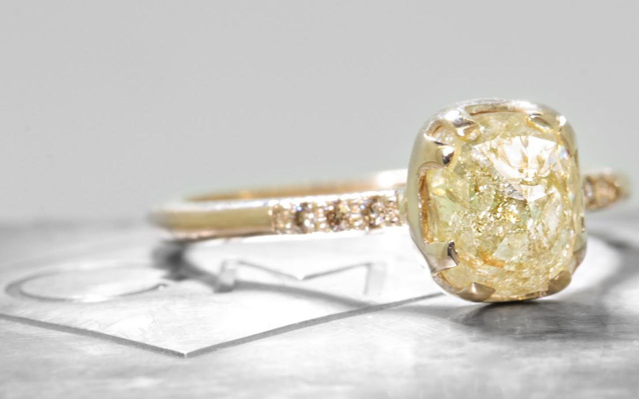 1.65 Carat Golden Diamond Ring in Yellow Gold