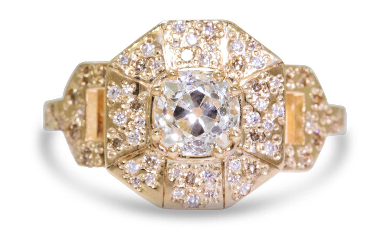 VESUVIO Ring in Yellow Gold with 1.14 Carat White Center Diamond