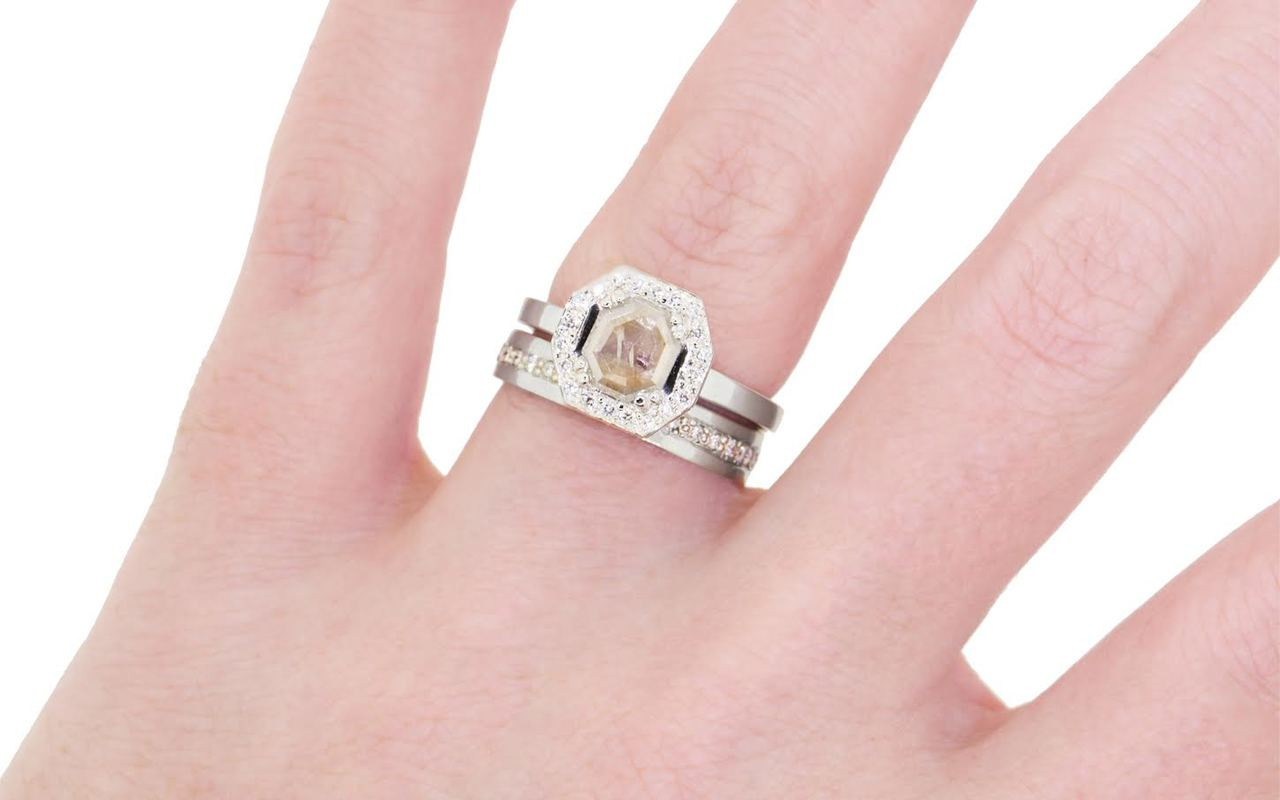 KATLA Ring in White Gold with .58 Carat Light Champagne Diamond