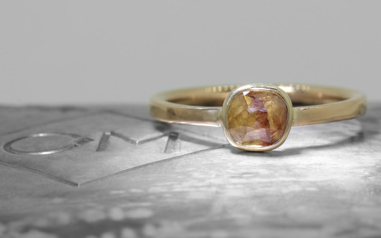 .61 Carat Honey/Peach Diamond Ring in Yellow Gold
