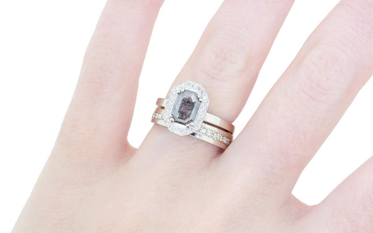 KATLA Ring in White Gold with .66 Carat Salt and Pepper Diamond