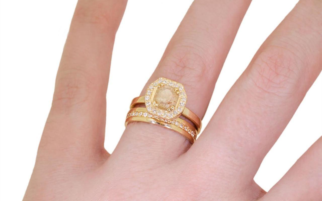 KATLA Ring in Yellow Gold with .57 Carat Light Peach Diamond