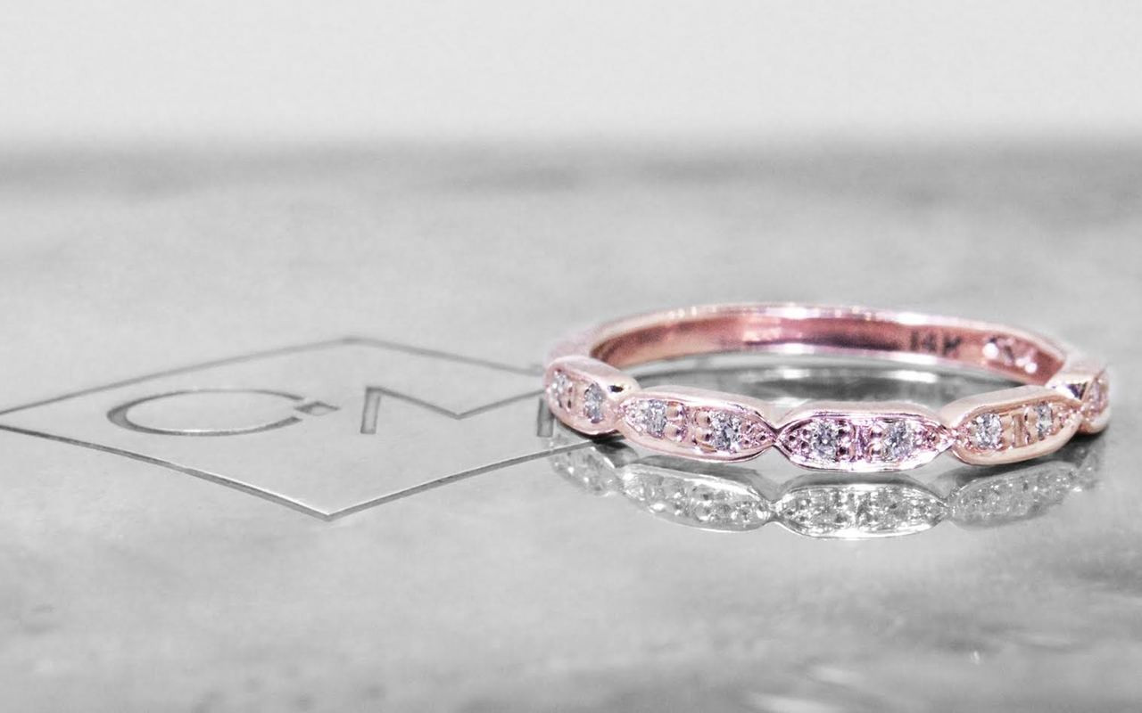Scalloped Wedding Band with White Diamonds