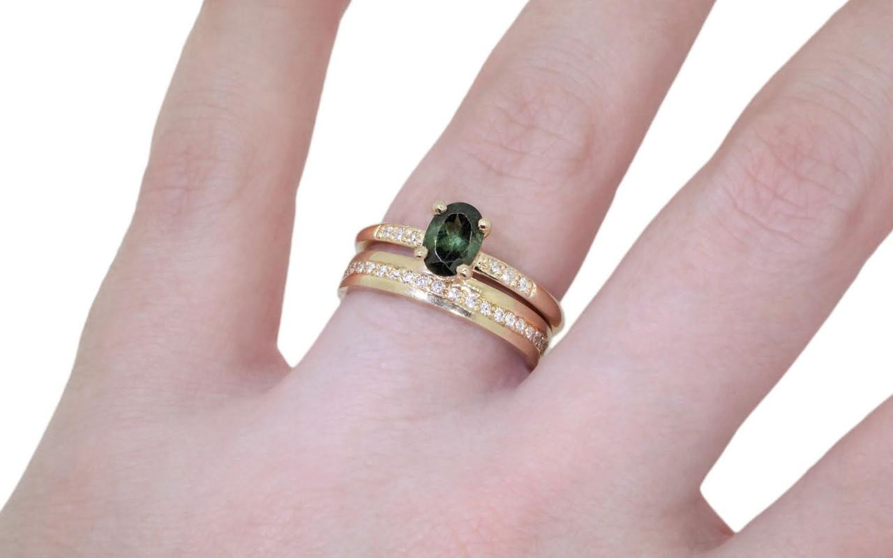 .80 Carat Green Tourmaline Ring in Yellow Gold