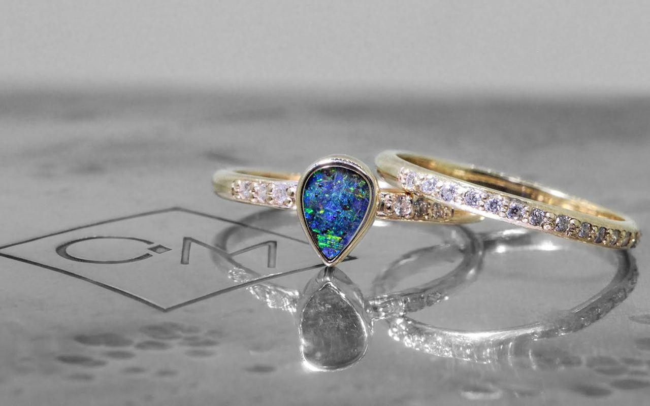 Australian Boulder Opal Ring in Yellow Gold