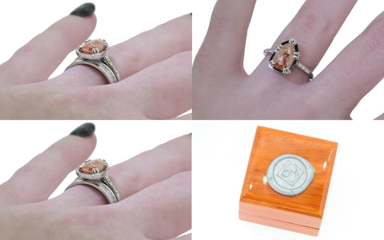 1.60 Carat Peach Diamond Ring in White Gold