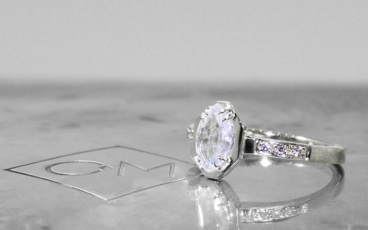 AIRA RIng in White Gold with .50 Carat Natural White Diamond