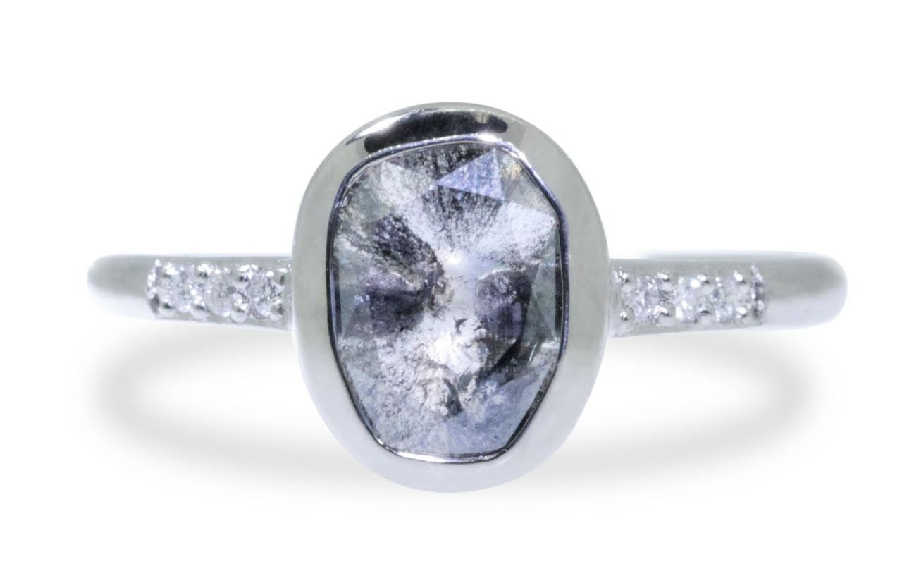 1.13 Carat Salt and Pepper Diamond Ring in White Gold