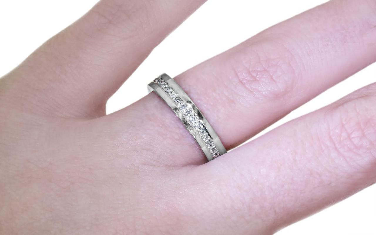 CM Eternity Wedding Band with Gray Diamonds