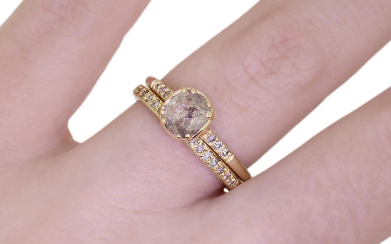.72 Carat Icy Gray Diamond in Yellow Gold