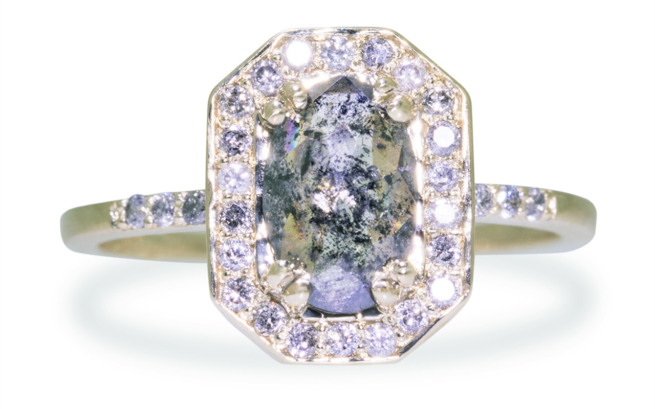 KATLA Ring in Yellow Gold with .88 Carat Salt and Pepper Diamond