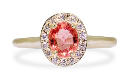 .90 Carat pink Sapphire Ring with White Diamond Halo