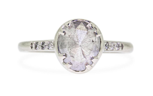 RESERVED- 1.59 Carat Glowing Gray Diamond Ring in White Gold