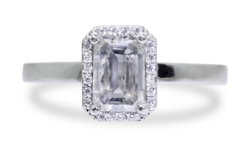 1.40 Carat Gray Diamond Ring with White Diamond Halo