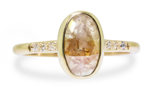 1.38 Carat Rustic Champagne Diamond Ring in Yellow Gold