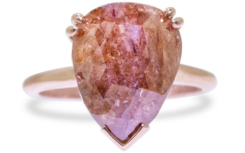 7.21 Carat Rich Cognac Diamond Ring in Rose Gold